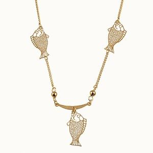 Vintage Gold Fish Chain Necklace